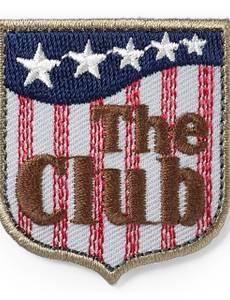 Applikation Label, THE CLUB, grau/braun