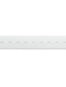 Knopfloch-Elastic, gewirktes Band, 25mm, rohweiß, 10m