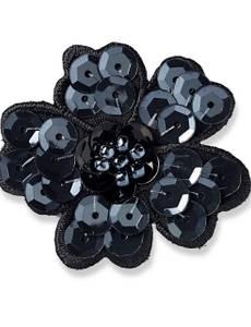 Applikation Paillettenblume schwarz