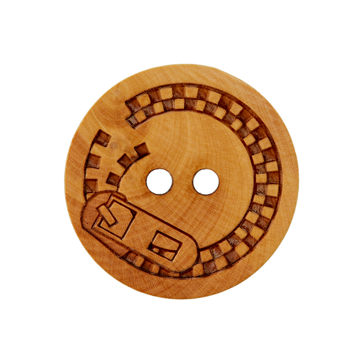 Holzknopf 2-Loch Reißverschluss