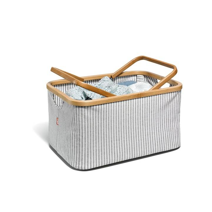 Fold & Store Basket, Canvas & Bamboo, Streifen