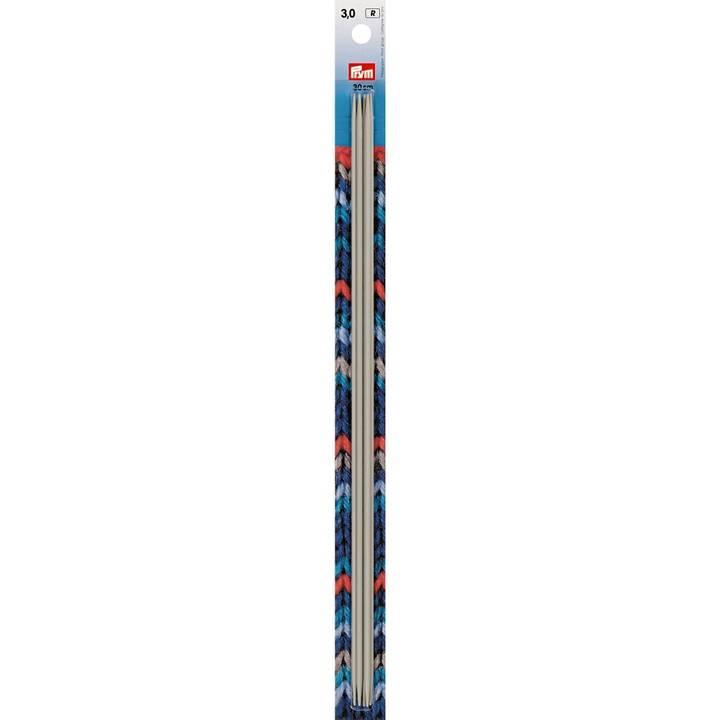 Strumpfstricknadeln, 30cm, 3,00mm, perlgrau