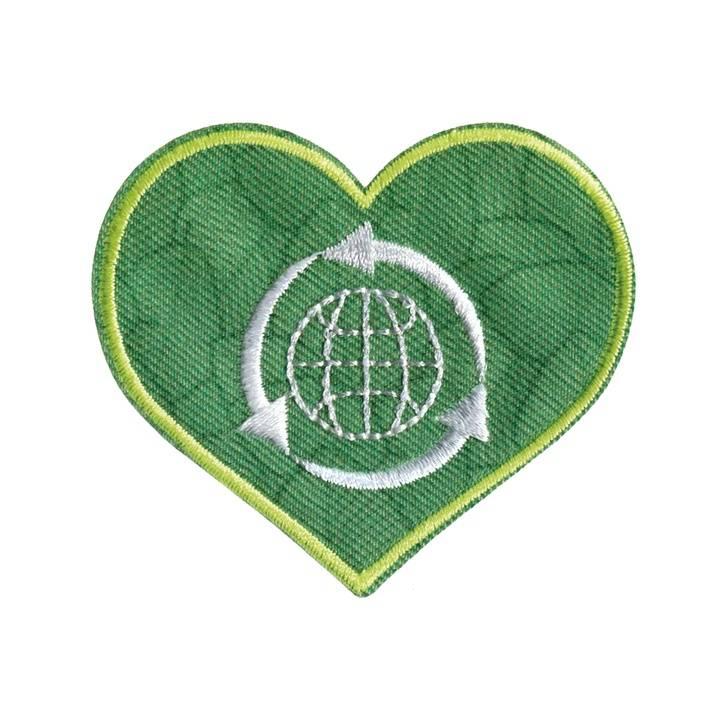 Applikation recycelt, Herz,grün