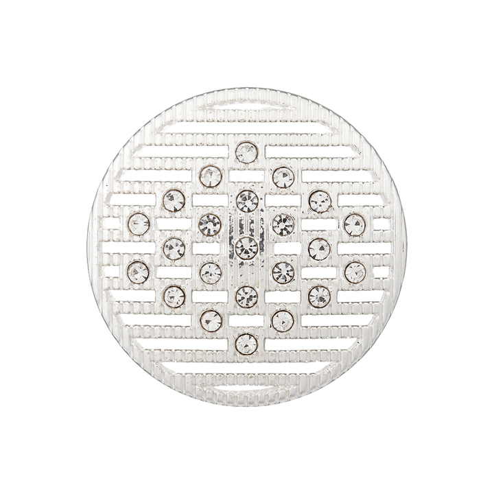 Metall/Strassknopf Öse, 23mm, silber