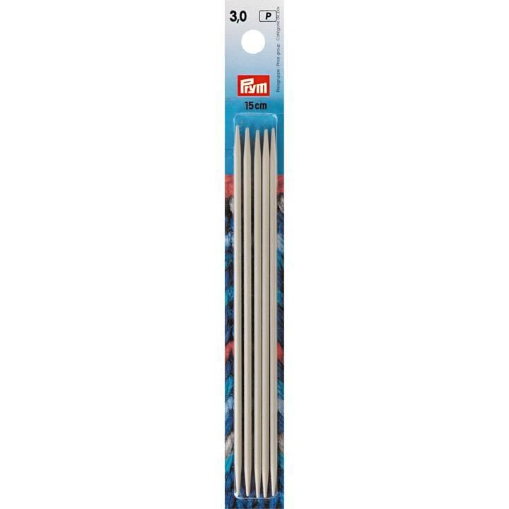 Strumpfstricknadeln, 15cm, 3,00mm, perlgrau