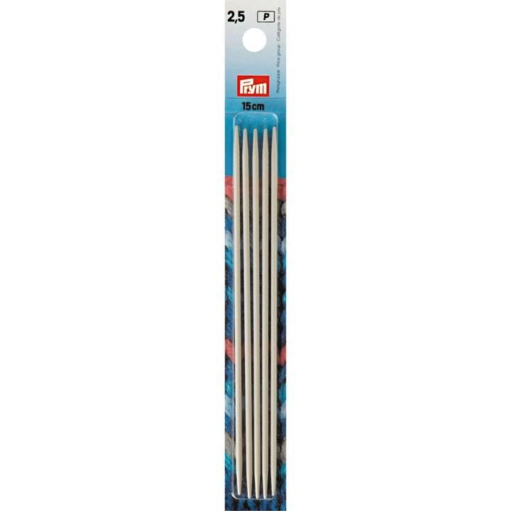 Strumpfstricknadeln, 15cm, 2,50mm, perlgrau