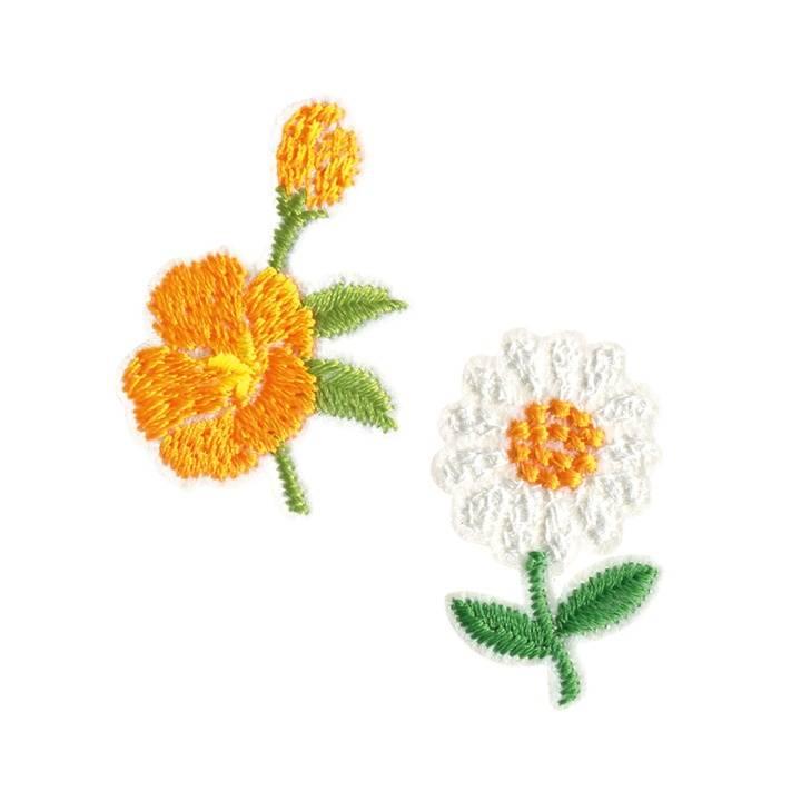 Applikation recycelt, Blumen, weiß/orange