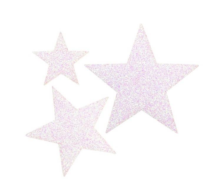 Applikation Sterne selbstklebend/aufbügelbar, weiß/glänend