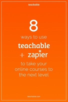 You can use Teachable and Zapier together to automatically add new students to email lists, keep track of your sales, sign students up for webinars, and much more, all while saving a ton of time and effort.