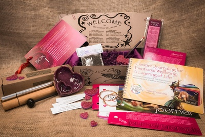 An emotional well being subscription box showing something for each of your senses to delight and support you.