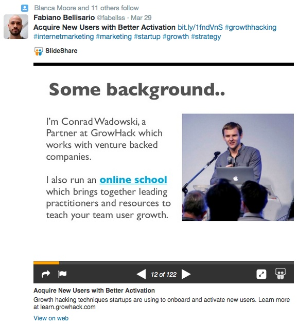 SlideShare share on Twitter