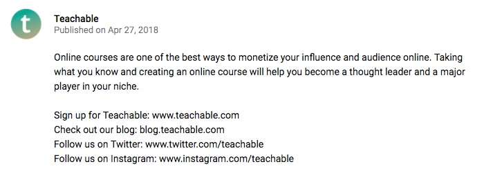 A video description on Teachable's YouTube channel.