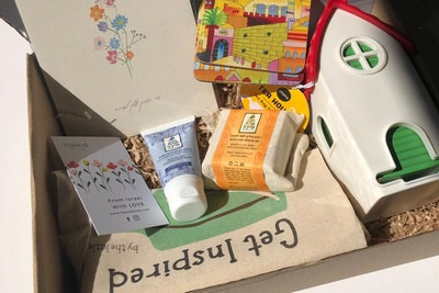 Hasod Premium subscription box filled with cards, skincare products and other unique products from Israel.
