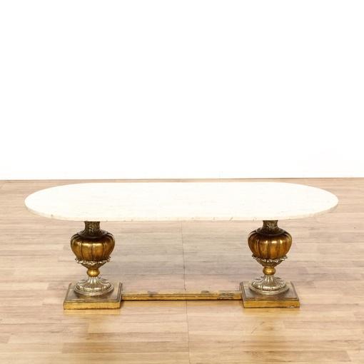 Italian Marble Brass Base Coffee Table