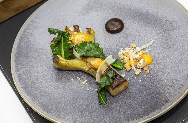 Jack Shaw's starter of braised broccoli stalk, pickled walnut ketchup, egg yolk, blue cheese dressing and whey crumb