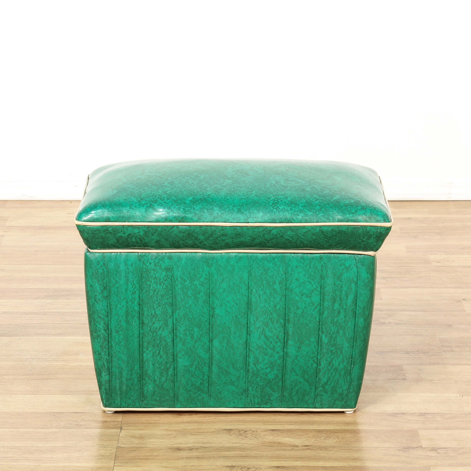 Retro Green Vinyl Upholstered Storage Ottoman Loveseat