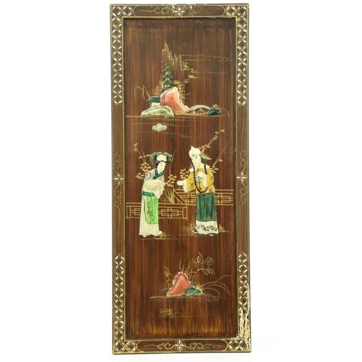 Chinese Stone Inlaid Wood Panel Wall Art 4 Loveseat