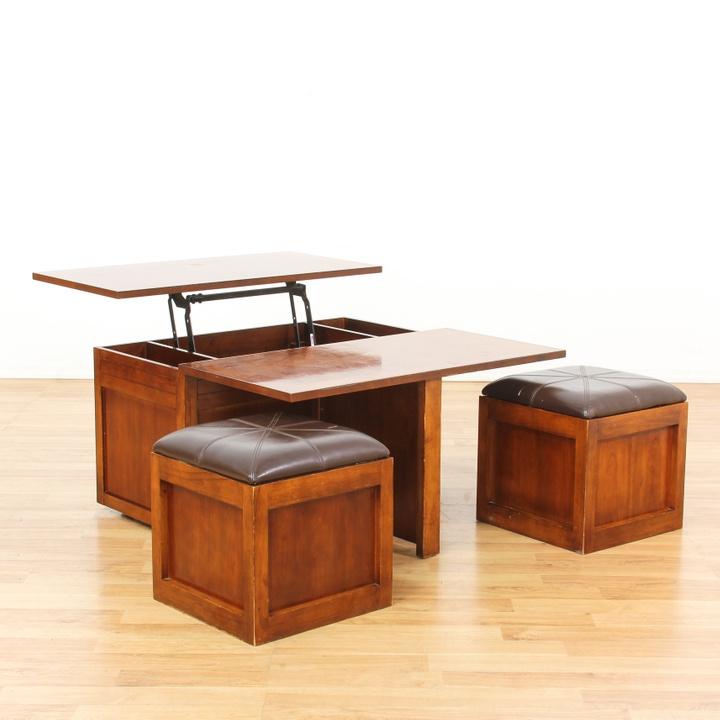 Lift Top Coffee Table W 2 Stools Loveseat Vintage