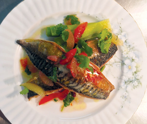 Mackerel fillets with coriander and citrus fruit