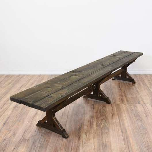 Long Rustic Dark Wood Trestle Bench 11
