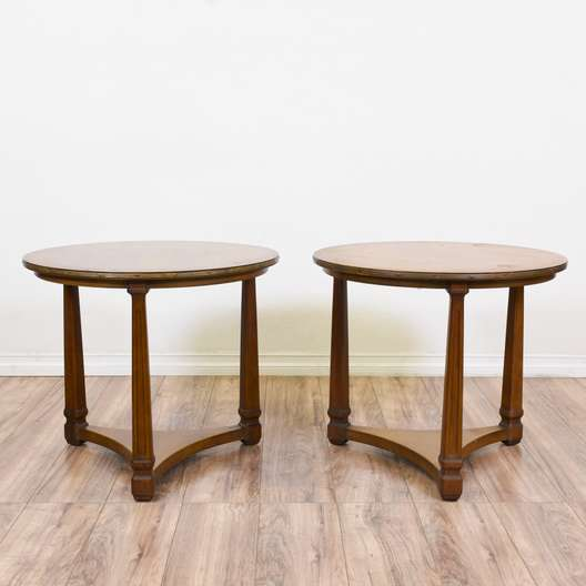 Pair of Round End Tables w/ Brass Edge Detail