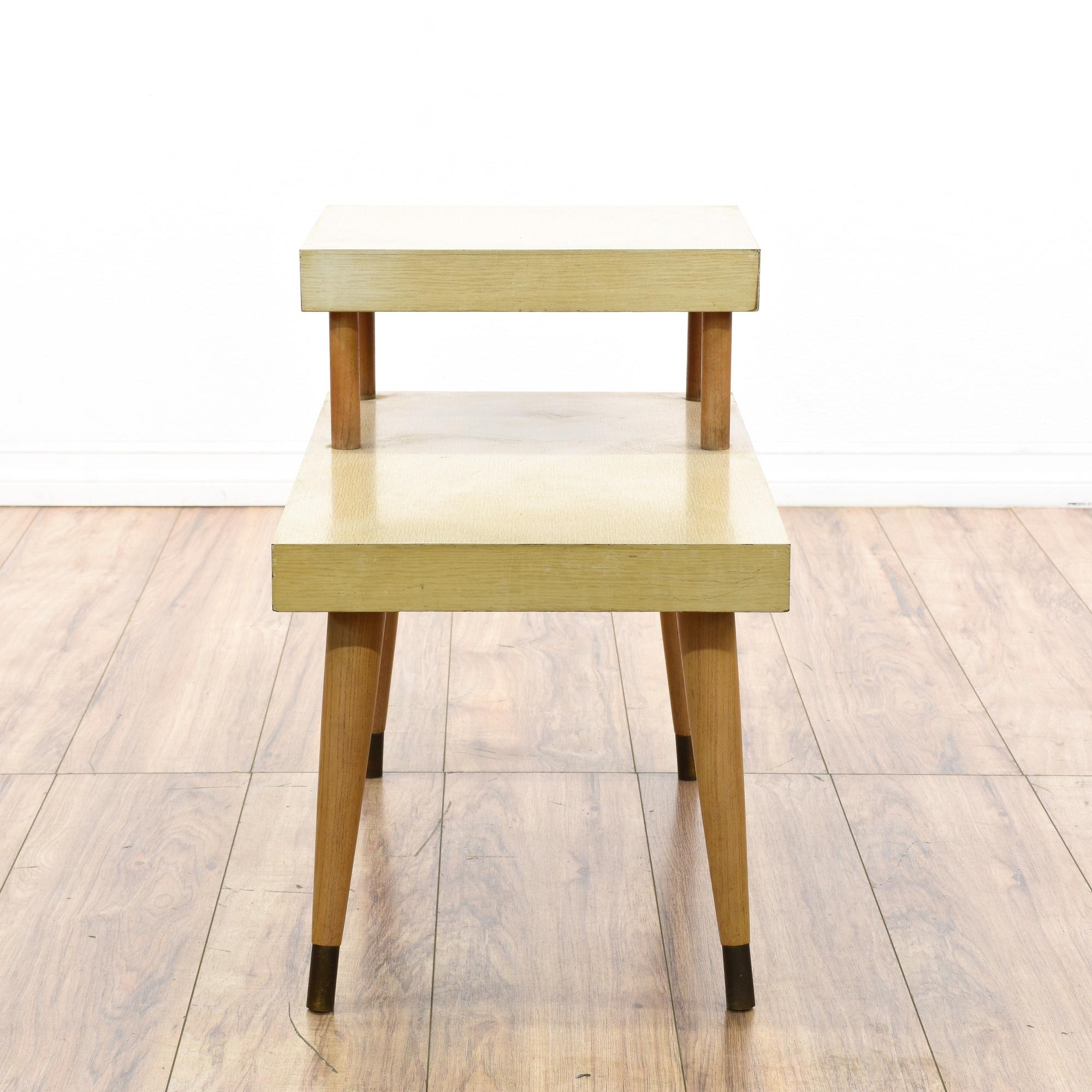 Mid century modern light wood step table loveseat for Mid century modern furniture san francisco