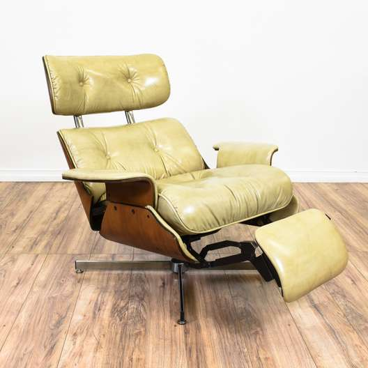 """Plycraft"" Eames Style Leather Recliner Armchair"