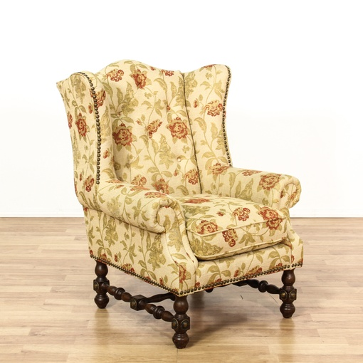 Beige Floral Turned Wood Wingback Armchair Loveseat