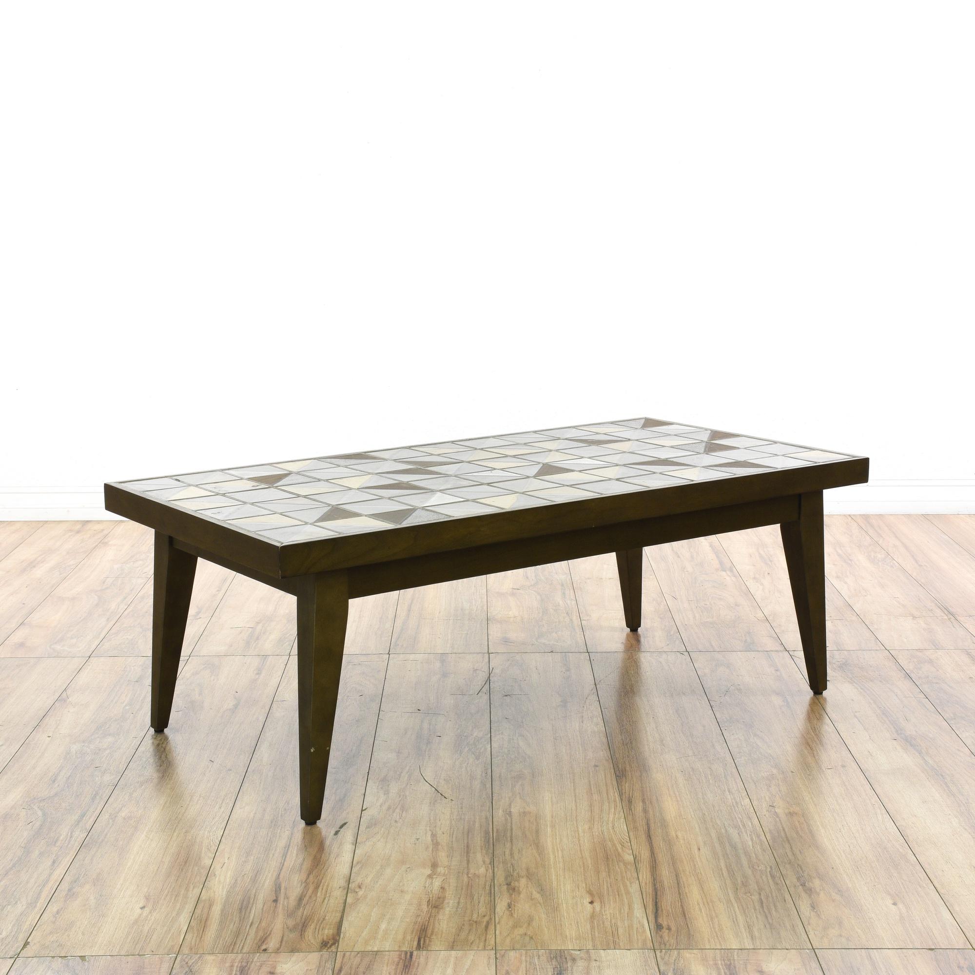 "Mid Century Tile Top Coffee Table: ""West Elm"" Mid Century Style Tile Top Coffee Table"