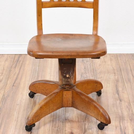 Vintage Wood Swivel Office Desk Chair Loveseat Vintage
