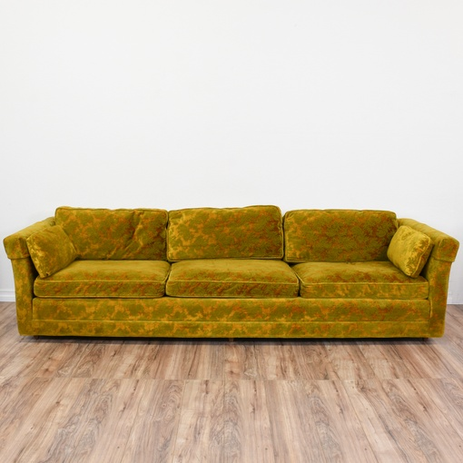 Long Damask Voided Velvet Mustard Yellow Sofa Loveseat Vintage Furniture San Diego Los Angeles
