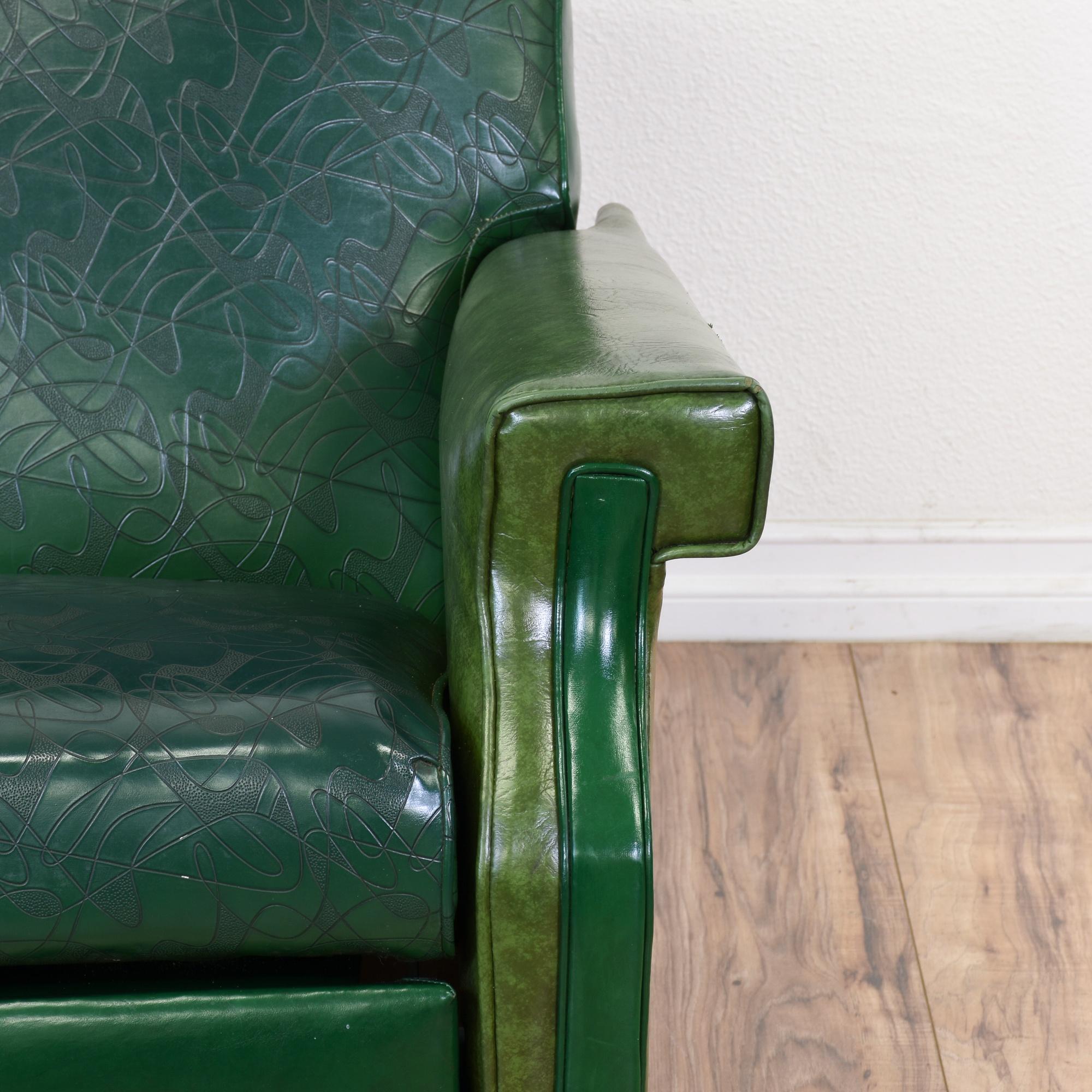 Mid Century Modern Green Vinyl Recliner Loveseat Vintage Furniture San Dieg