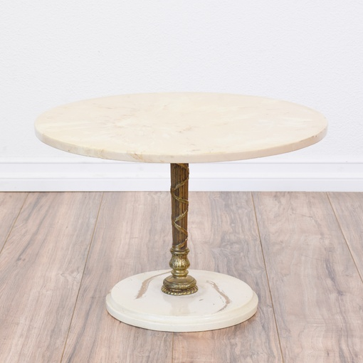 Round Marble Top Brass Pedestal End Table Loveseat