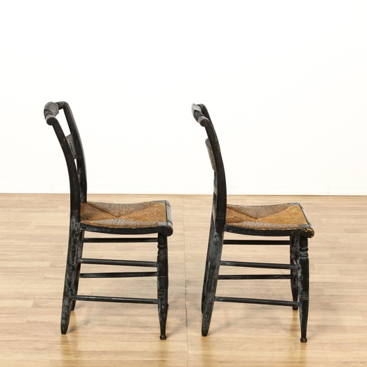 Groovy Pair Of Black Antique Hitchcock Chairs Loveseat Vintage Ocoug Best Dining Table And Chair Ideas Images Ocougorg