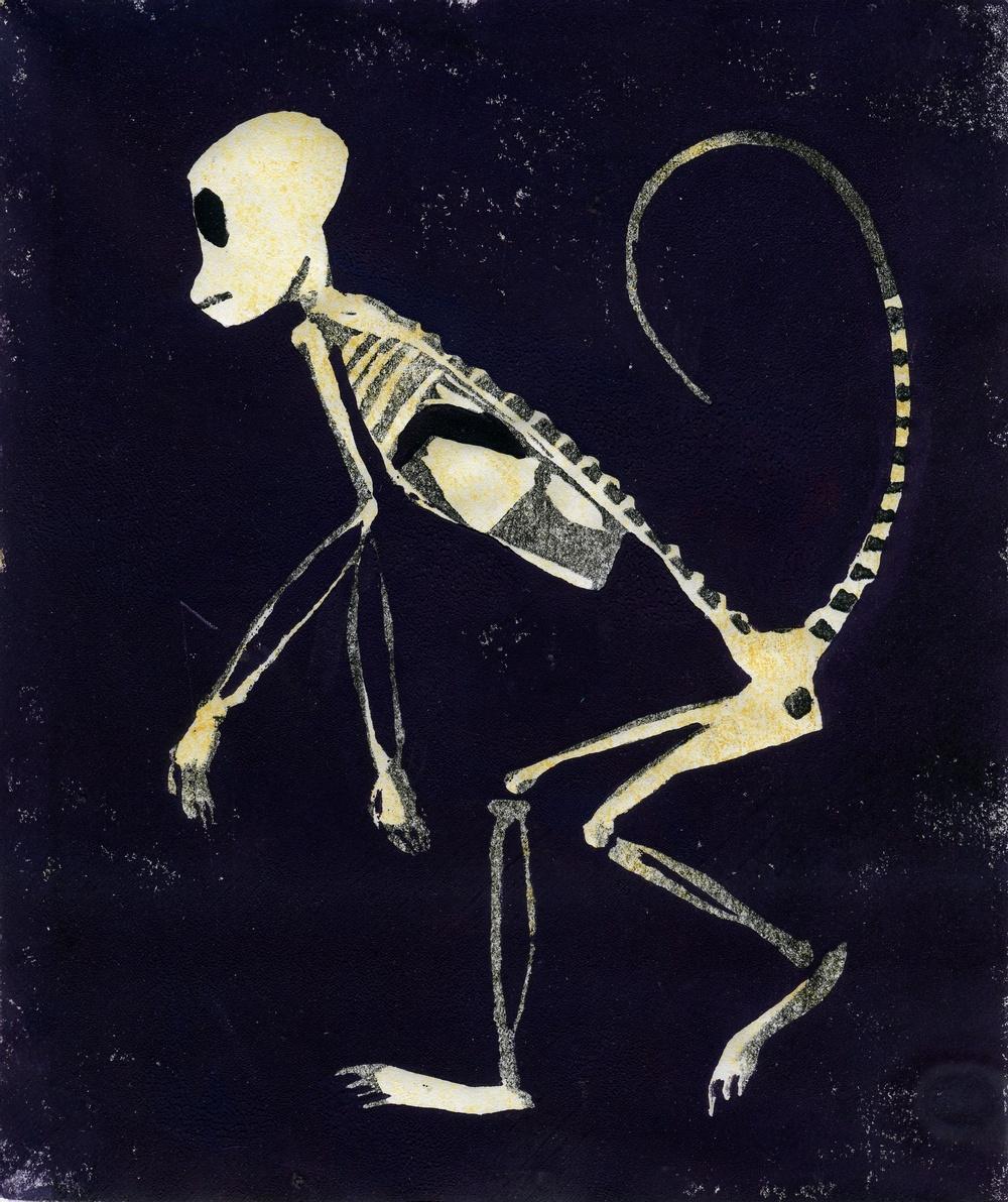 Claes Jurander X-rayed monkey. Linoleumsnitt. 2009