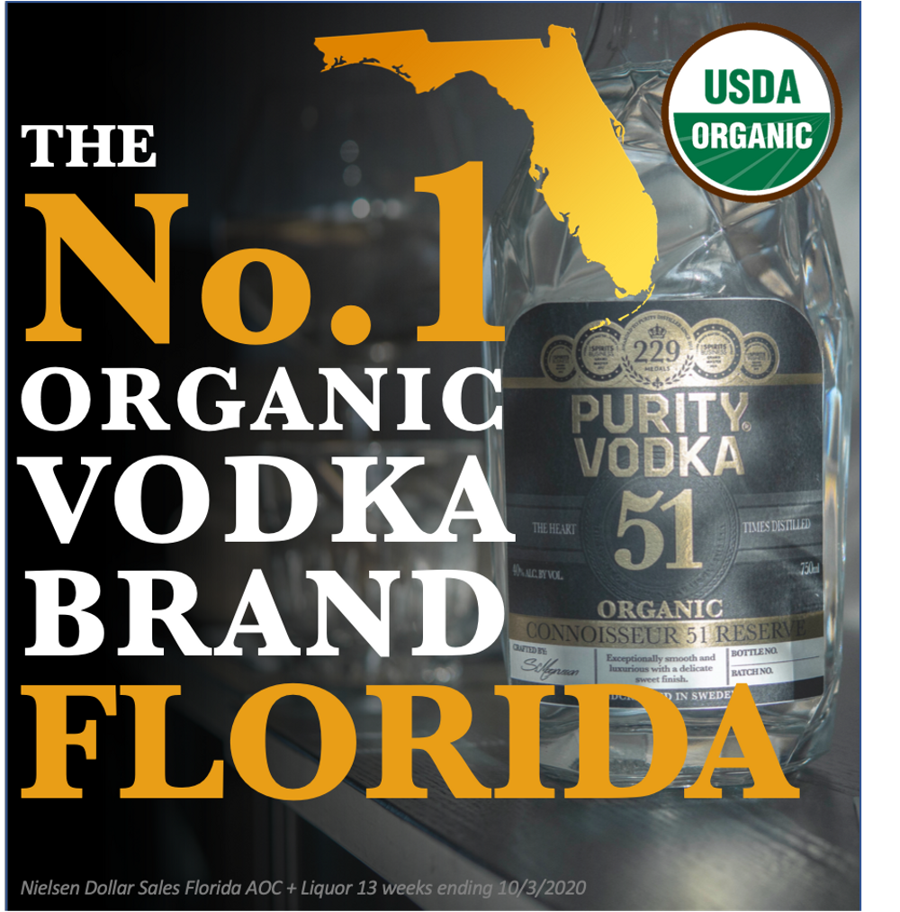 Purity Vodka - number 1 Organic brand in Florida