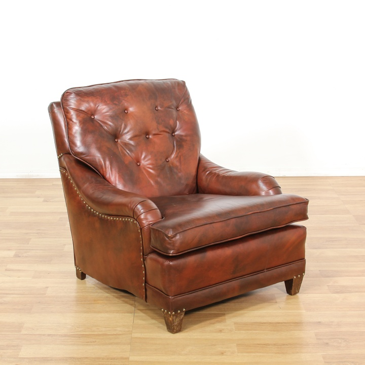 Leather Sofas In Los Angeles: Leather Upholstered Burgundy Tufted Armchair