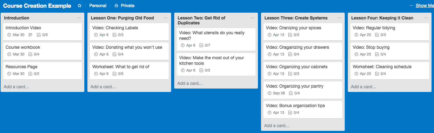 How to use Trello to plan your online course content.
