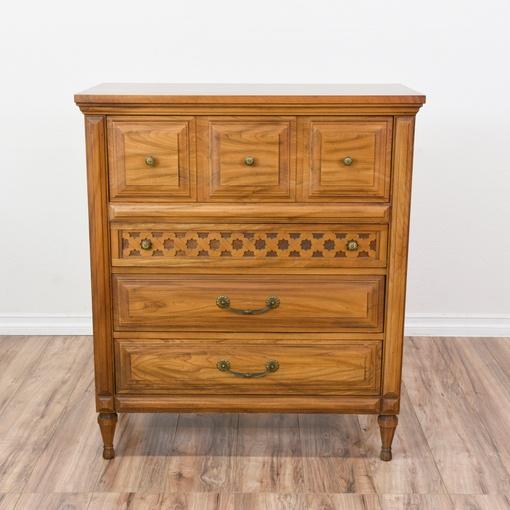 """Light Carved Wood """"Burnett's"""" Highboy Dresser"""