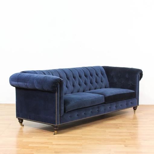 Dark blue velvet tufted studded sofa loveseat vintage for Studded sofa