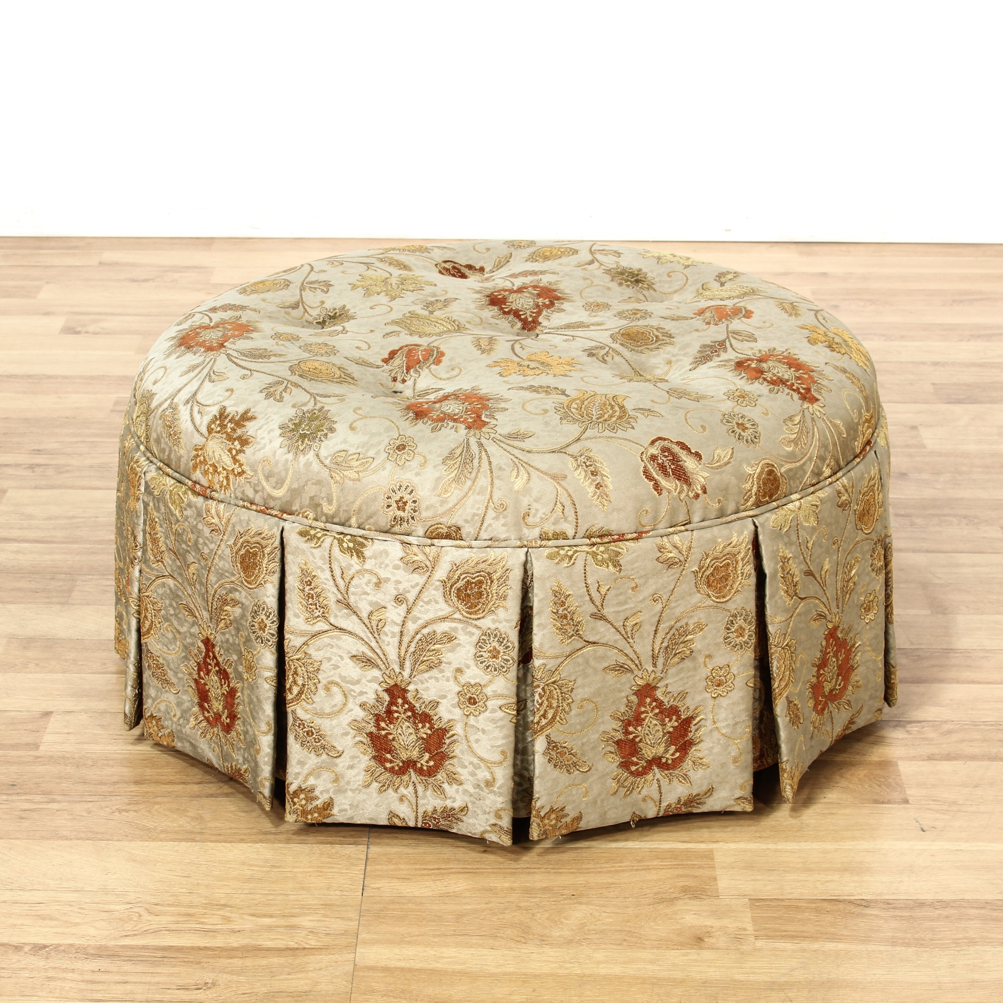 Large Round Upholstered Ottoman