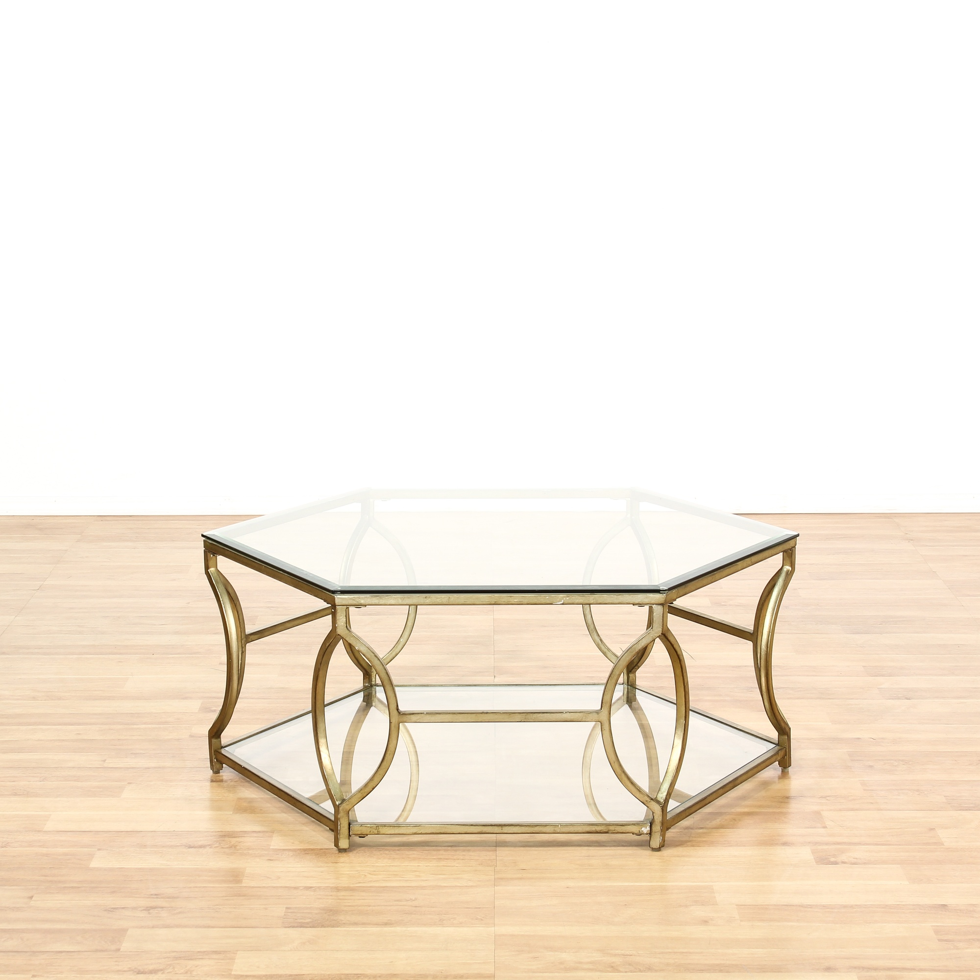 Two Tiered Brass And Glass Coffee Table: Brass & Glass 2 Tier Octagon Shaped Coffee Table