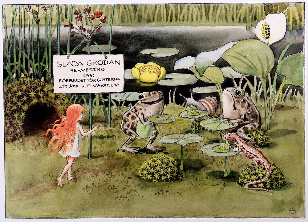 Illustration ur Elsa Beskows bok Solägget. © Elsa Beskow
