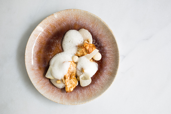 Raw scallop, celeriac and white chocolate