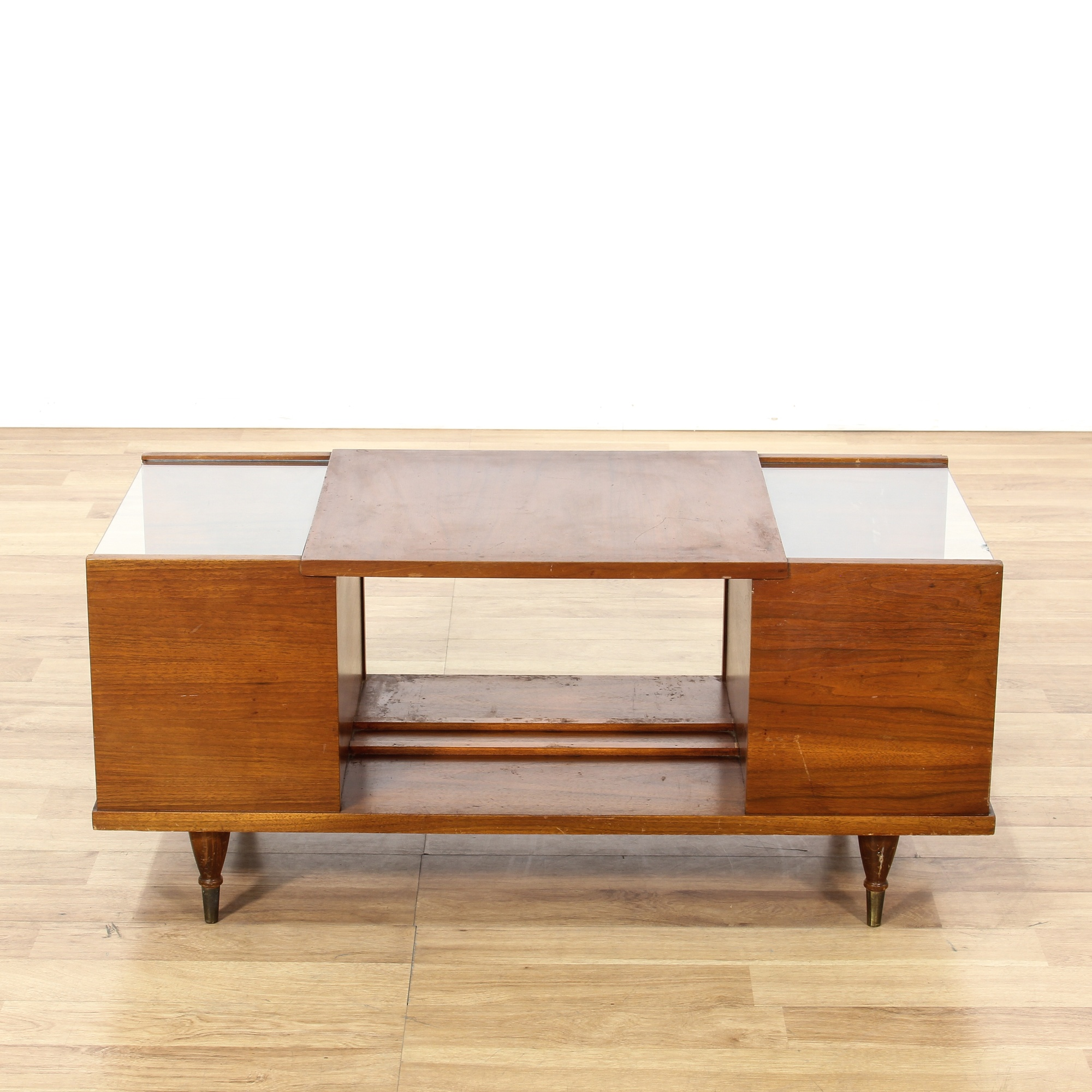 Mid Century Modern Teak Glass Tier Coffee Table | Loveseat ...