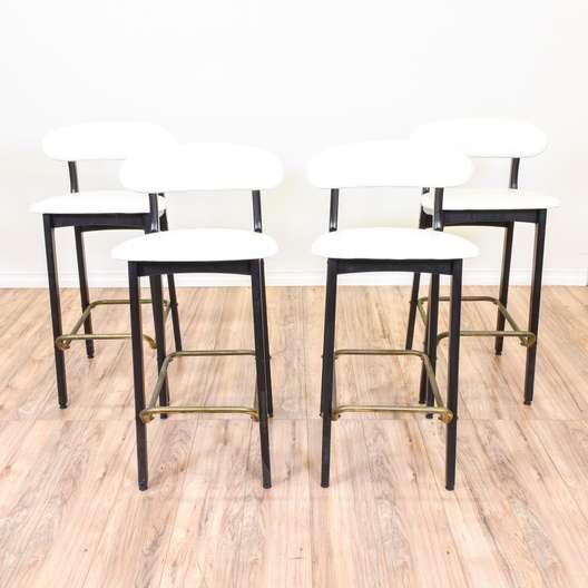 Set of 4 White Mid Century Modern Barstools