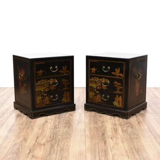 Pair of Asian Black Chinoiserie Nightstands
