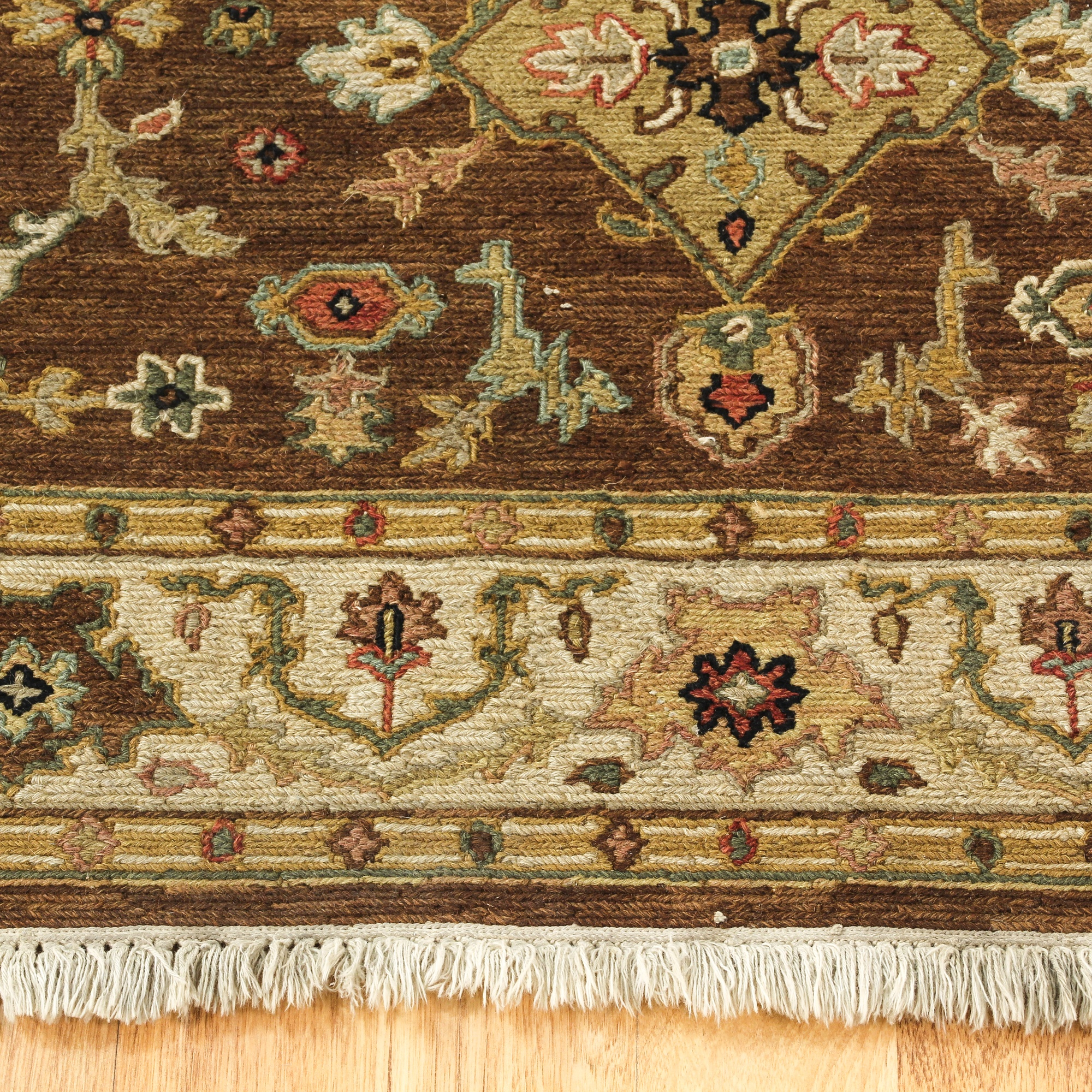 Hand Knotted Tan Floral Persian Rug
