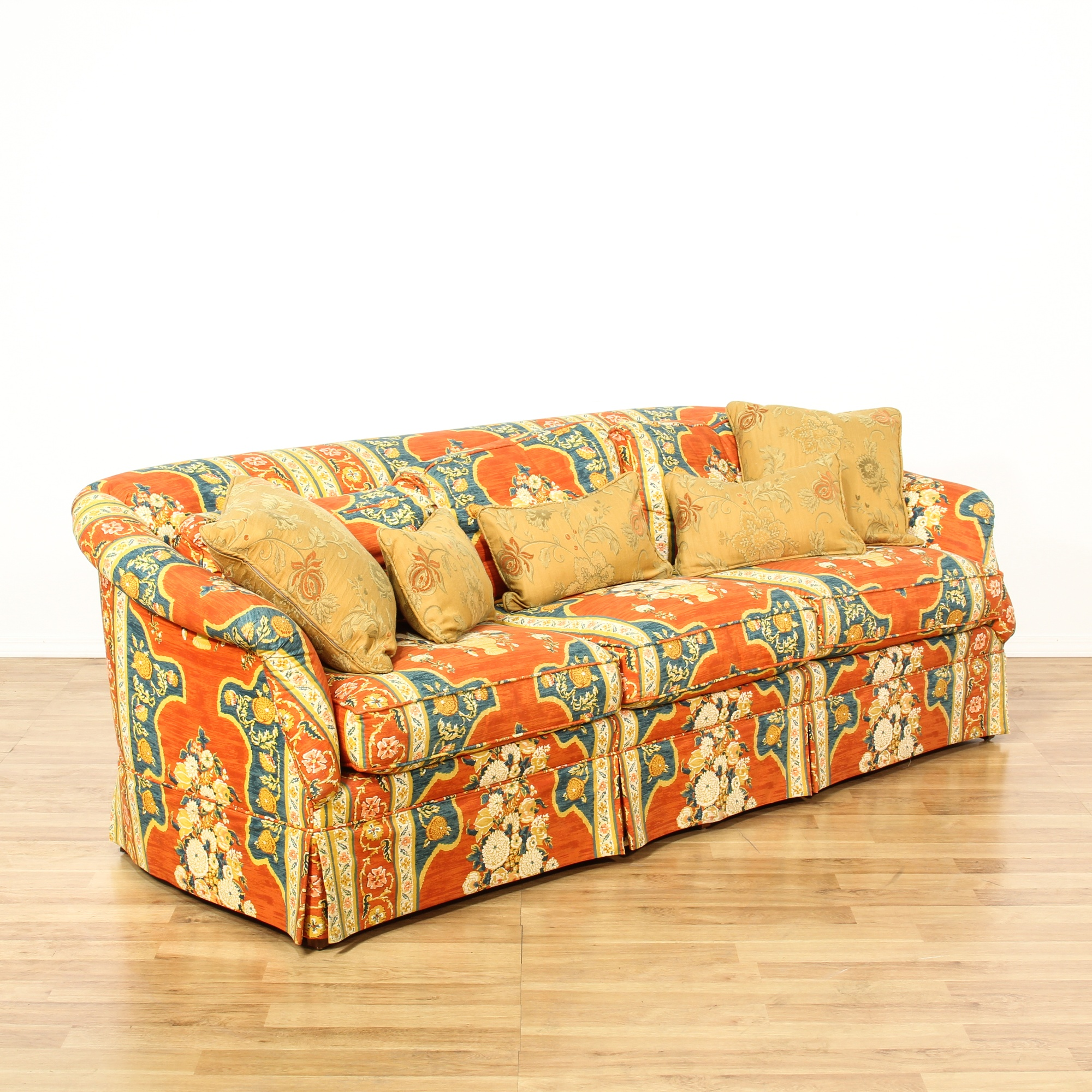 Bold Red Floral Striped Upholstered Sofa Loveseat Vintage Furniture San Diego Los Angeles