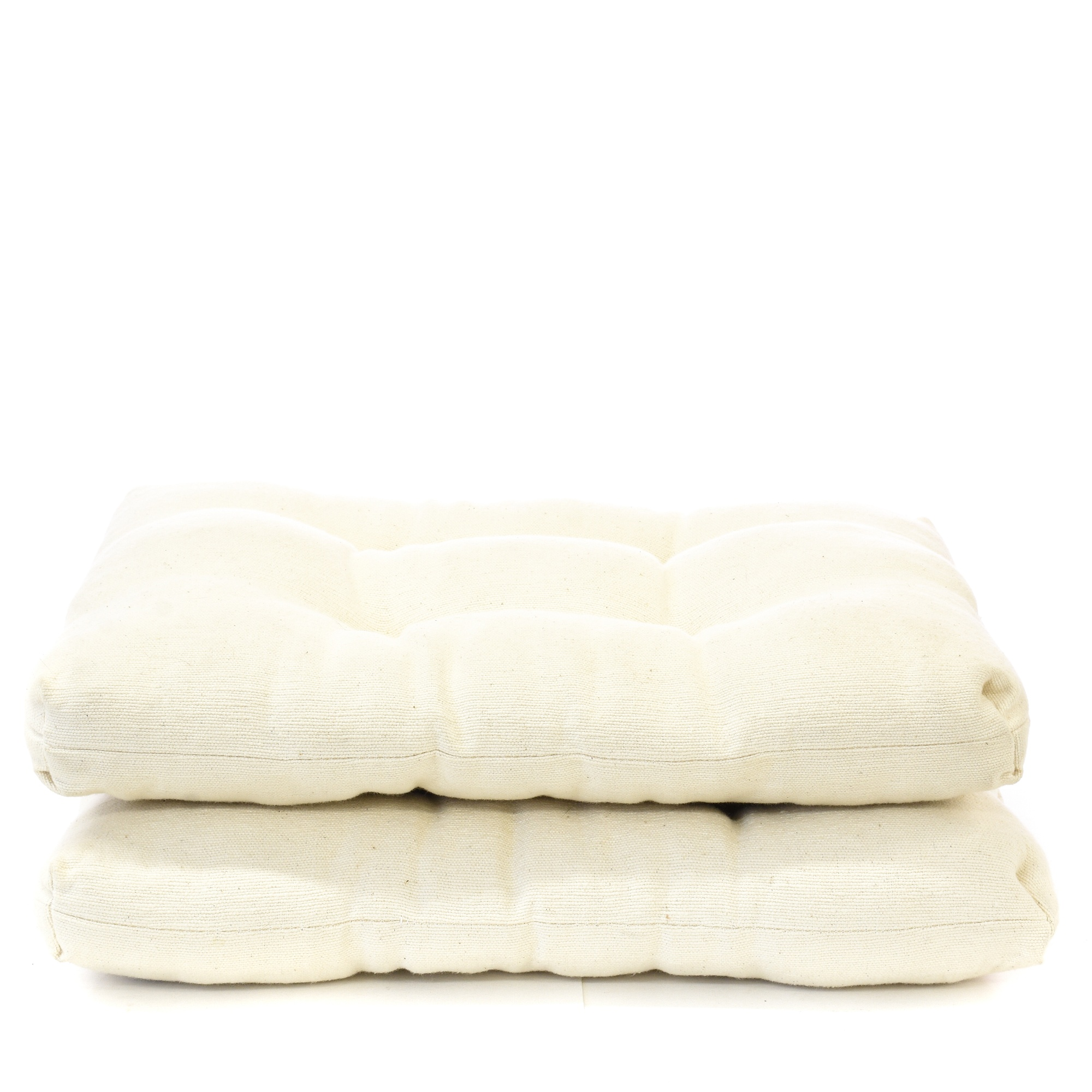 Pair of Large White Tufting Cushion Floor Pillows Loveseat Vintage Furniture San Diego & Los ...